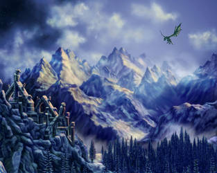Skyrim Themed Landscape by dragynsart