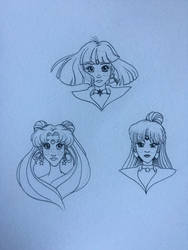 Sailor Moon, Saturn, Pluto by charmie