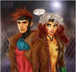 X-men: Gambit + Rogue by daekazu