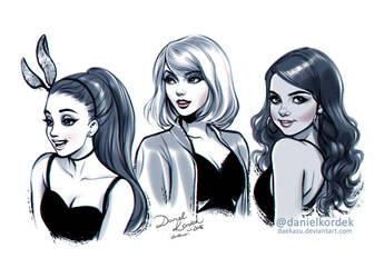 Inktober: Ariana, Taylor and Selena by daekazu