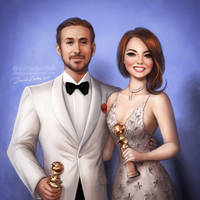 Golden Globes: Ryan Gosling and Emma Stone by daekazu