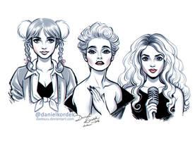 Inktober: Britney, Madonna and Shakira by daekazu