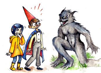 Request: Coraline and Wirt facing a werewolf by Pumpulaatti