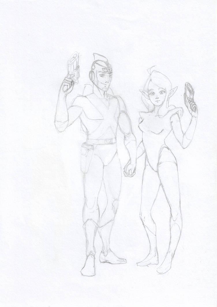 Adam Strange + Alanna by kryptonator