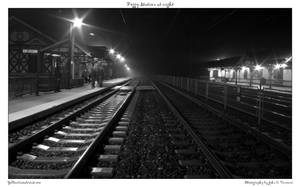 Foggy Station at night by yellowcaseartist