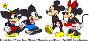 Mickey and Minnie Meet Foxy and Roxy by tpirman1982