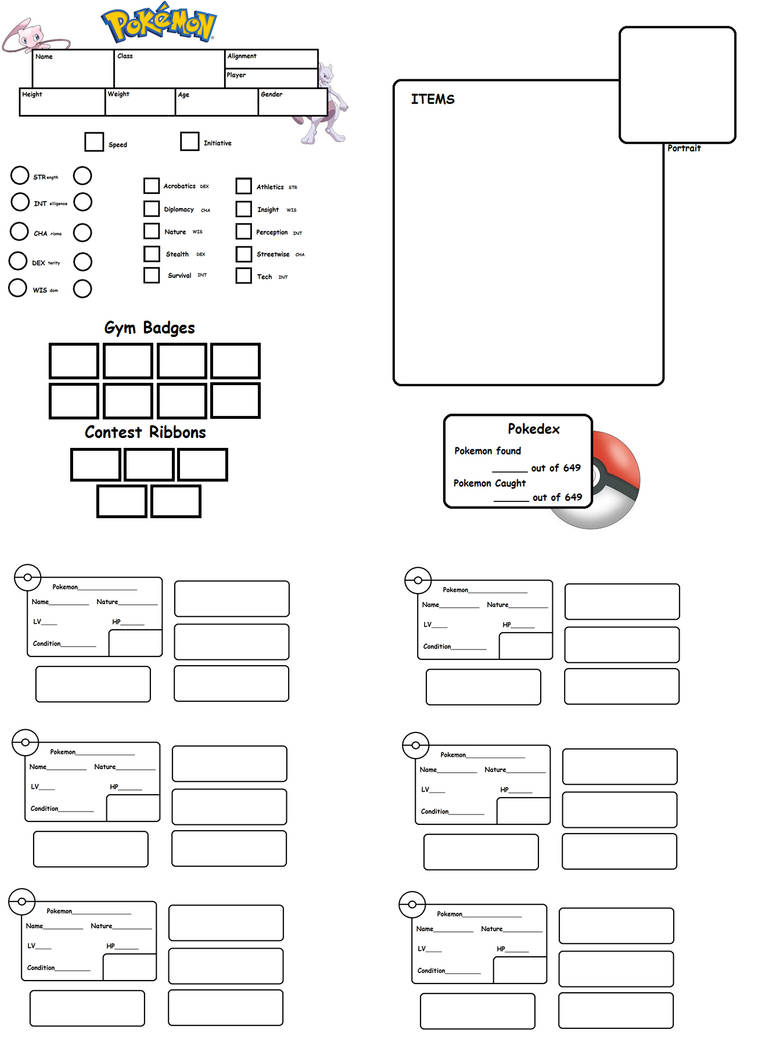 Pokemon Tabletop Character Sheet Template By Chuchymacu On Deviantart