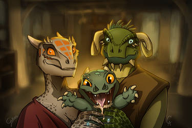The Happy Argonian Family by GalooGameLady