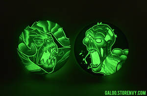 Glow-in-the-dark Fallout buttons by GalooGameLady