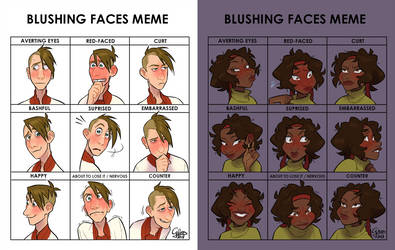 Blushing Faces Meme with Buttons and Meg by GalooGameLady