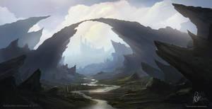 Rocky landscape painting by RaymondMinnaar