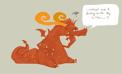 Dragon contemplates his life by okavango