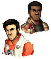 Star Wars: Finn and Poe by Smudgeandfrank