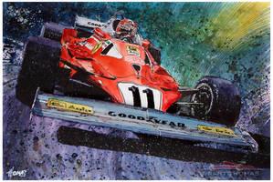 Niki Lauda / Ferrari 312T2 by ferrariartist