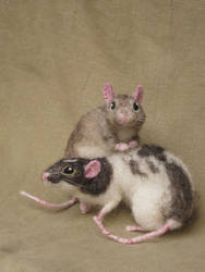 Needle felted rats by HStiLeS