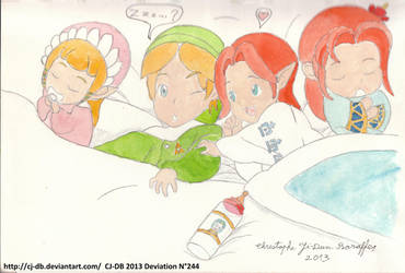 The babies of Hyrule in bed by CJ-DB