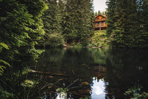 Cabin by the lake by MoonKey19