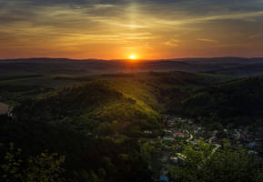 Sunset over the hills by MoonKey19