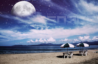 Beach with Stars in Sky by rotaris