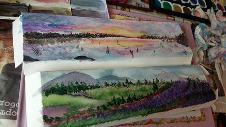 Watercolor 1st tries  by Dimitrinaa