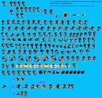 Improved Gardow's Shadow The Hedgehog Sprite Sheet by AsuharaMoon