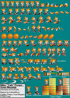 Miles Tails Prower (Sonic Megamix) Sprite Sheet by AsuharaMoon