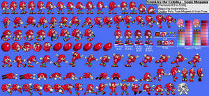 Knuckles the Echidna (Sonic Megamix) Sprite Sheet by AsuharaMoon