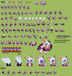 Rouge in Sonic 1 - Sprite Sheet n' Release by AsuharaMoon