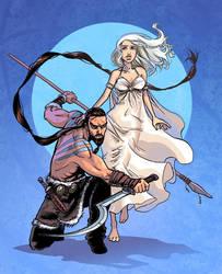 Khal Drogo and Daenerys Targar by iliaskrzs