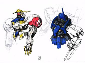 Gundam IBO practice drawings :) by JesterretseJ