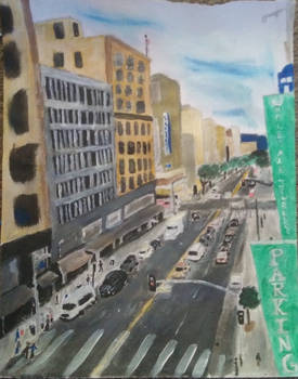 Painting of the City-scape of Downtown LA by KatTrubia630