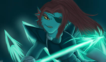 Undyne The Head Of The Royal Guard by FLAMERSBLAME