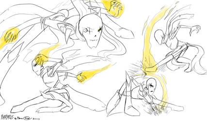 Papyrus attack pose practice 2017 art by FLAMERSBLAME