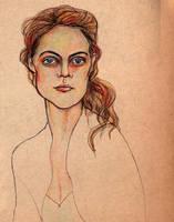 Selfportrait on brown paper by lienertje
