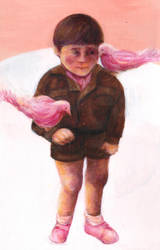Boy with pink birds by lienertje