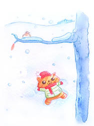 Play in snow by Inkaeo