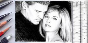 Buffy + Angel sketchcard by whu-wei