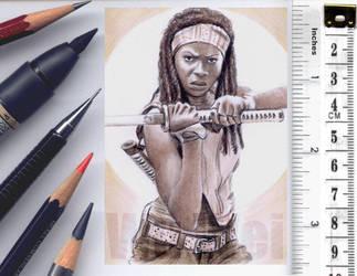 Michonne sketchcard by whu-wei