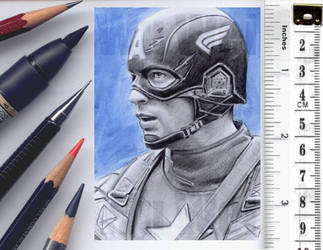 Captain America sketch card by whu-wei