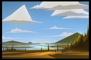 Triangle Landscape by UsamahDraws