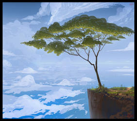 A Tree Over the Ocean by UsamahDraws