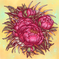Peonies and bones by dimary