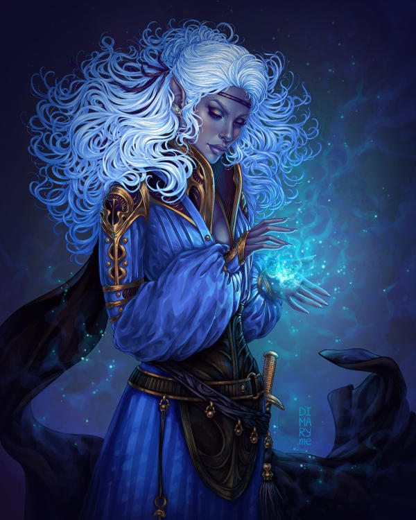 Commission: Dark Elf Sorceress/ magic flame by dimary