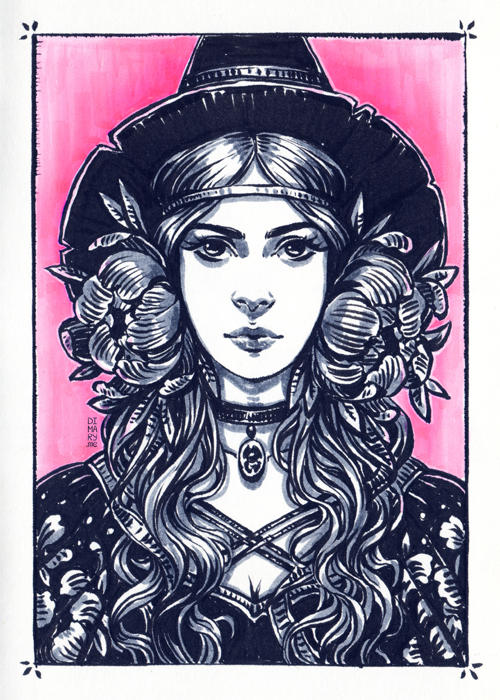 Inktober: Young Witch by dimary