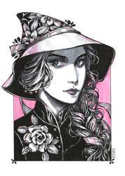 Inktober: Gardenia Witch by dimary