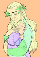 Oropher with toddler Thranduil by Miyucchi