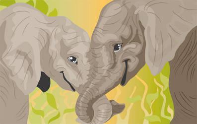 Elephant friends by artjenesis