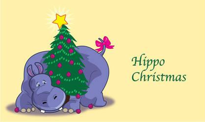 Hippo Christmas by artjenesis