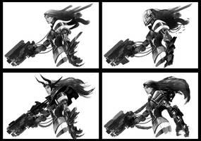 Pew Pew Gun Girl Laserbeam by Eyardt