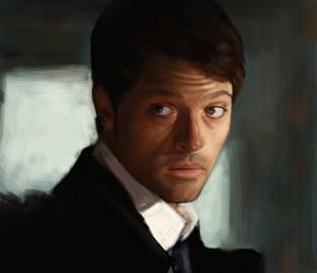 Monday Portrait Painting 7.14.14 Castiel by thewordlesssignature